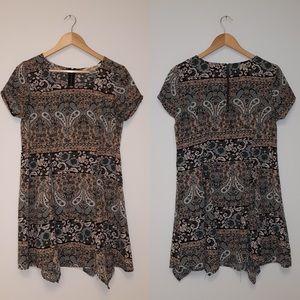 Mimichica Green/Multi Pattern Short Sleeve Dress M